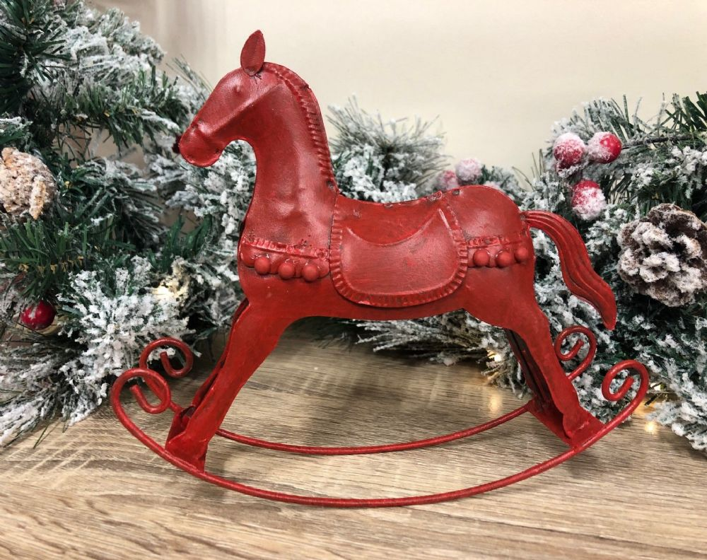 Red Metal Rocking Horse Ornament